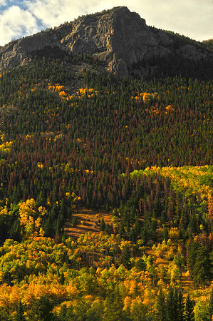 Walt Hester | Trail-Gazette<br /> Aspens ring the base of Deer Mountain on Tuesday.