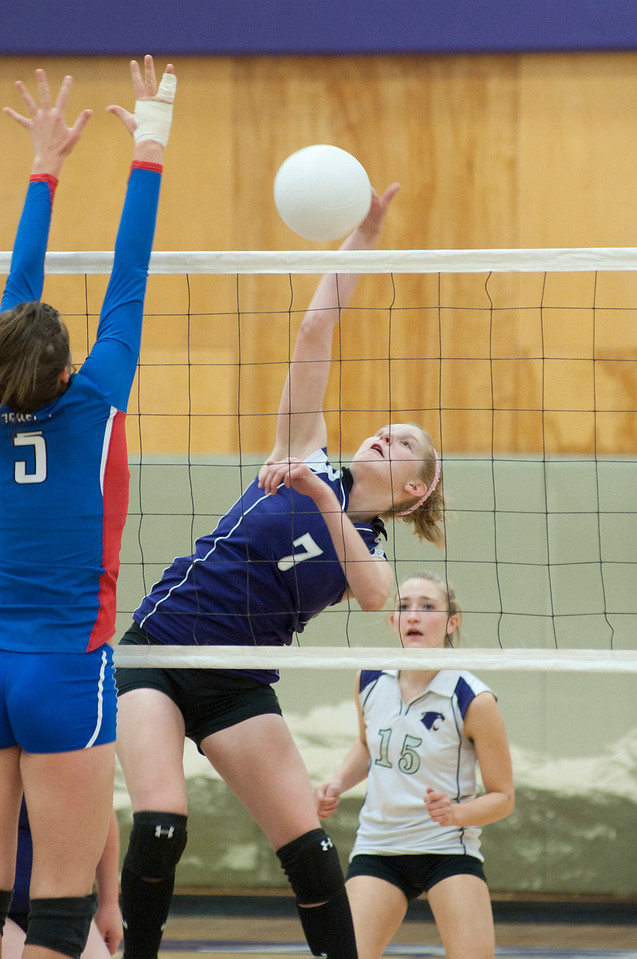 Walt Hester | Trail-Gazette<br /> Ali Scheil hits against Weld Central on Tuesday. The Ladycats could only take one game from the Rebels.