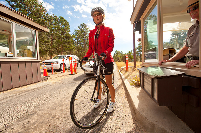 Walt Hester | Trail-Gazette<br /> Alice Miller of Estes Park enters the Fall River fee station in Rocky Mountain National Park with a cruise over Deer Ridge Junction in mind.