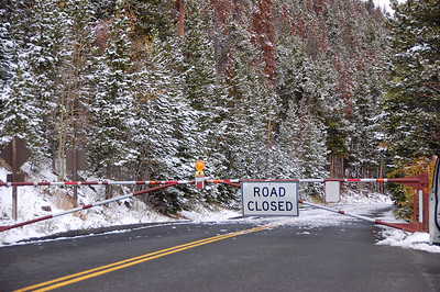 Saturday's snow led to the temporary closure of Trail RIdge Road Sunday. The road was closed between Many Parks Curve on the east side and the Colorado River Trailhead on the west side.