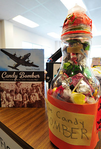 Walt Hester   Trail Gazette The candy-filled rocket created by fifth-grader Mae Tice seems ready for launch at the Estes Park Elementary School Library on Wednesday. The rocket was inspired by the book telling the story of a relief flight during the Berlin Airlift.