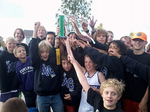 Courtesy Ruby Bode<br /> The Estes Park Middle School Boys Cross Country team celebrates their third consecutive Norther Plains League Championship on Tuesday. The girls placed third in the league meet, with a first and second place from Lily Tomasula Martin and Emma Laurienti, respectively.