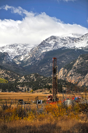Walt Hester | Trail Gazette<br /> A drilling rig sprouts up in the middle of Moraine Park on Tuesday. The rig is drilling wells which the park hope to connect with current wells, at which point the drilling rig will be removed.