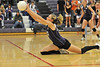 Walt Hester | Trail Gazette<br /> Amanda Dill stretches out to get under a ball against Brush on Thursday. The Girls lost both Thursday and Friday, though they are showing some improvement and pressured both opponents at times.