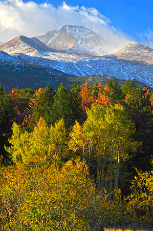 Walt Hester | Trail Gazette<br /> Autumnal winds blow snow and clouds across the top of Longs Peak on Wednesday. While foliage is most associated with fall, wind is not far behind in Estes Park.