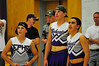 Walt Hester | Trail-Gazette<br /> Freshman boys dressed as cheerleaders await the chance to show off at the Powerpuff Volleyball game on Monday.