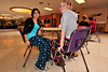 Walt Hester | Trail-Gazette<br /> Denise Palacios, 13, and Jenna Wahler, 14, wear their pajamas at lunch at the Estes Partk Middle School on Wednesday. The middle and high schools are celebrating Spirit Week ahead of homecoming.