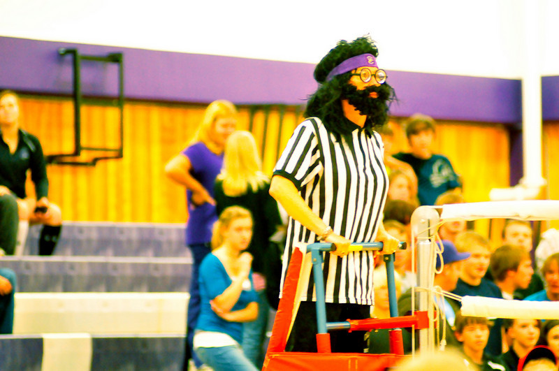 Walt Hester | Trail-Gazette<br /> A mysterious volleyball ref keeps watch over the Powerpuff volleyball game on Monday.
