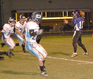 Bobcat quarterback David Klein is ready to fire a pass during the second quarter of the Bobcat's Oct. 8 game against Platte Valley.
