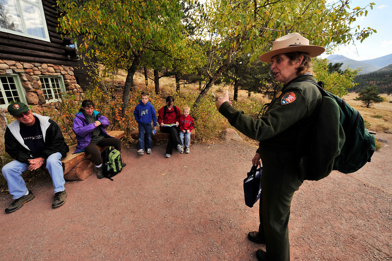 Walt Hester | Trail-Gazette<br /> Seasonal ranger Marilyn Irwin prepares the season's last interperetive walk from the Moraine Park Museum of  on Monday. The museum and ranger walks through Moraine Park will return in the spring.