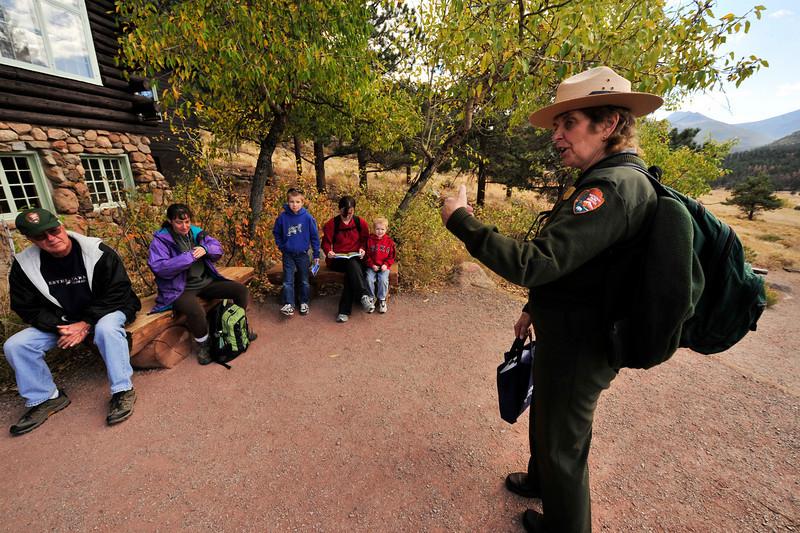 Walt Hester | Trail-Gazette<br /> Seasonal ranger Marilyn Irwin prepares the season's last interperetive walk from the Moraine Park Museum of  on Monday. The museum and ranger walks through Moraine Park will return in the spring.