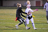 Walt Hester | Trail-Gazette<br /> Junior Hanna Steadman tries to turn the corner against the Senior girls on Wednesday. Steadman scored the junior's only TD, running the ball in as time ran out.