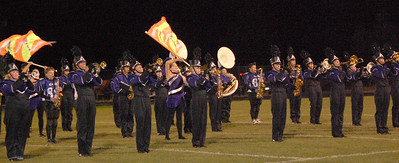 The Bobcat marching band performs at halftime of Friday night's football game against Platte Valley.