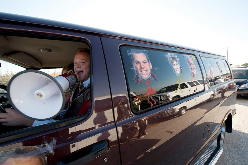 Walt Hester | Trail-Gazette<br /> The van for Lincoln and Grand Island's Chanels 10/11 team head to the next stop. Teams were encouraged to decorate their vans, as well as themselves.