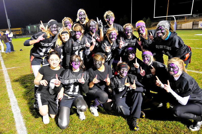Walt Hester | Trail-Gazette<br /> The senior girl's powderpuff football team pose after their victory over the juniors. The seniors won 21-7.