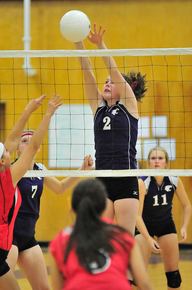 Walt Hester | Trail Gazette<br /> Senior Faith Weibel blocks a Strasburg hit in game one on Tuesday. Weibel had a solid match, though the Ladycats fell 3-1 to the visiting Indians.