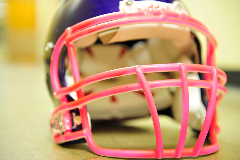 "Walt Hester | Trail Gazette<br /> A ""bubblegum"" pink face mask adorns a Bobcats' football helmet on Tuesday. The masks, and accompanying socks, are for Friday's Pink Out football game, in recognition of Breast Cancer Awareness Month."