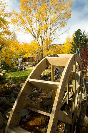 Walt Hester | Trail Gazette<br /> The water wheel at the west end of downtown slowly creeks and shifts but doesn't rotate at this point in the season.