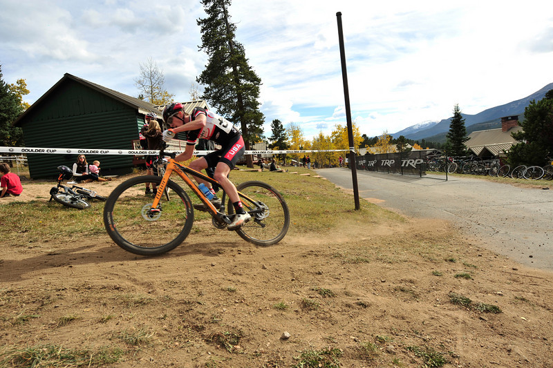 Walt Hester | Trail-Gazette<br /> Men's Open division winner Tim Allen dives off the pavement and on to the dirt during Sunday's Aspen Lodge Cross races. Allen rode a 29-inch-wheeled mountain bike instead of a traditional cyclocross bike due to the technical nature of the Aspen Lodge course