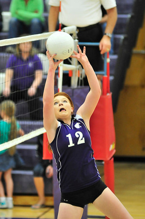 Walt Hester | Trail-Gazette<br /> Estes Park's Holly Hinson scrambles to set a pass against Lyons on Thursday. The Ladycats were not able to hold the pace of the Lions, losing 3-1.