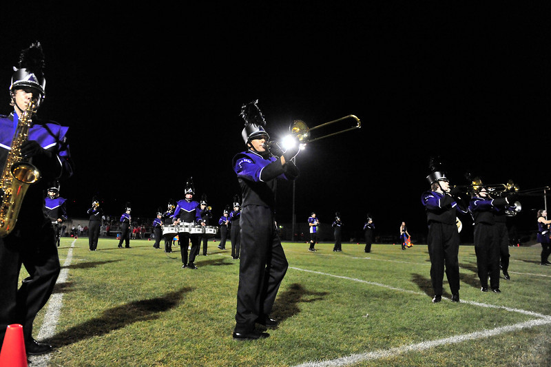 Walt Hester | Trail Gazette<br /> The award-winning Estes Park High School Marching Band performs at halftime of the Bobcats' football game in September. The band's concert that had been scheduled for Wednesday has been rescheduled to next week.