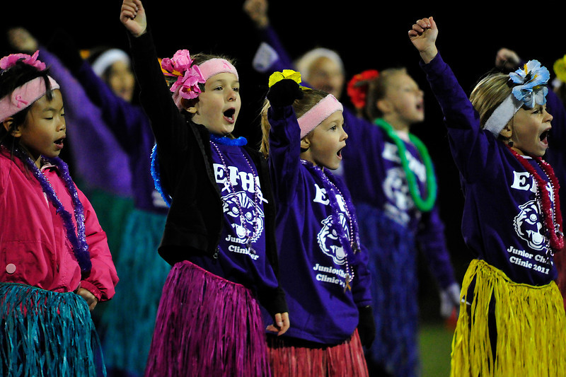 Walt Hester | Trail Gazette<br /> The Estes Park junior cheer squad perfoms at halftime of Friday's football game, to the delite of parents and fans. The high school cheerleaders had been working with the elementary school children to prepare them for the performance.