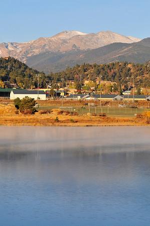 Walt Hester   Trail-Gazette<br /> Mist on Lake Estes causes a light sheen on the water on Sunday.