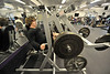 Walt Hester | Trail-Gazette<br /> Bobcat football player Ben Addison works the leg press mechine during the team's workout on Wednesday. The boys had already practiced outside before hitting the weights.