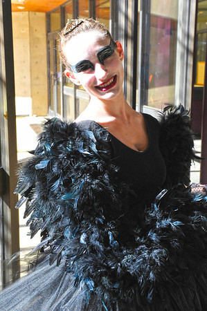Walt Hester | Trail Gazette<br /> Erin Diedrich is the Black Swan at the Estes Park Elementary School on Monday. The character from the movie of the same name was a popular choice this year.