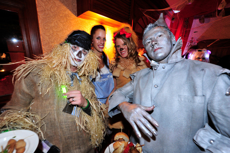 Walt Hester | Trail Gazette<br /> From left, Ryan Tollis, Elyse Daughtary, Chelsea Tollis and Carlose Maldonado came to Estes Park from Colorado Springs to enjoy the annual Shining Ball at the Stanley on Saturday. The Oz-themed foursom won best group costumes at the party.