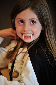 Walt Hester | Trail Gazette Skyla Powell is a very cute little vampire at the Estes Park Elementary School on Monday.