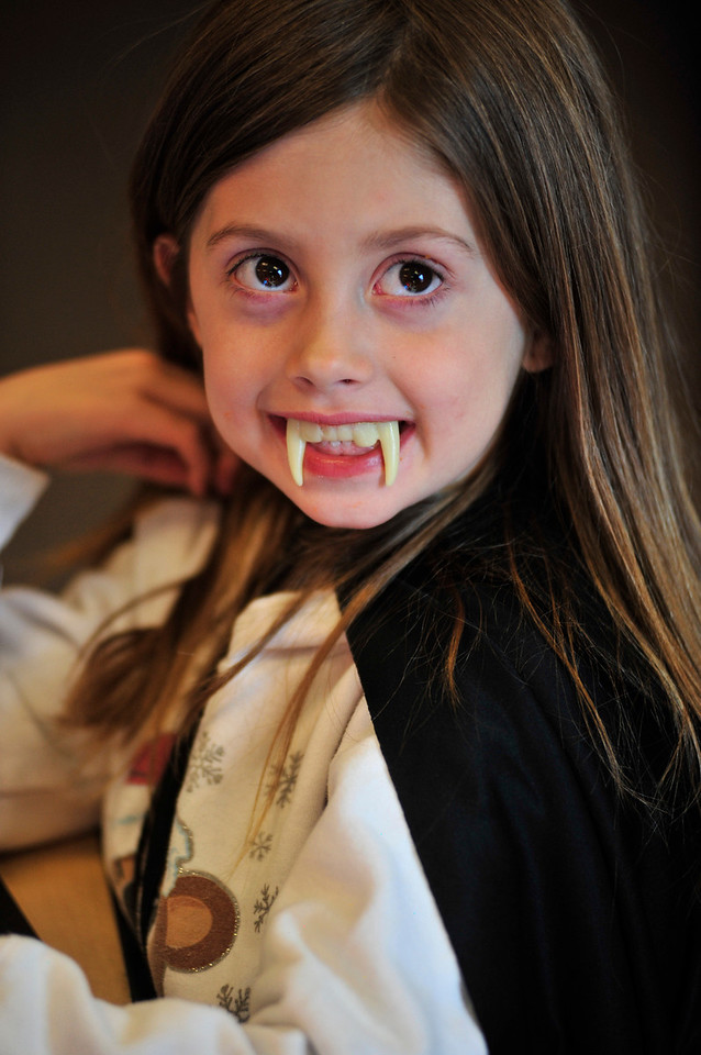 Walt Hester   Trail Gazette<br /> Skyla Powell is a very cute little vampire at the Estes Park Elementary School on Monday.