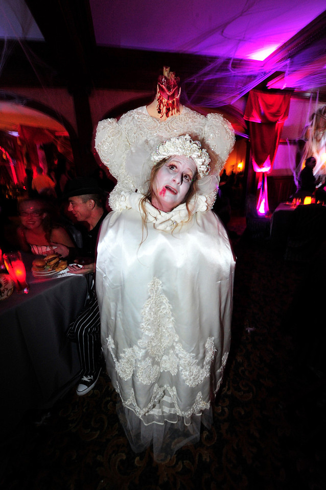"""Walt Hester   Trail-Gazette<br /> Shawn DuBois is the """"Axe"""" Wife at the Stanley Hotel's Shining Ball on Saturday. DuBois won """"Scariest Costume"""" honors at the event."""