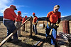 Walt Hester | Trail Gazette<br /> Park volunteers, from left,Ray Nieder, Steve Sheldahl, Russ Buckley, Roy Leonard and Wes Tewinkle help erect snow fence in Moraine Park on Monday. The national park is preparing for the long winter.