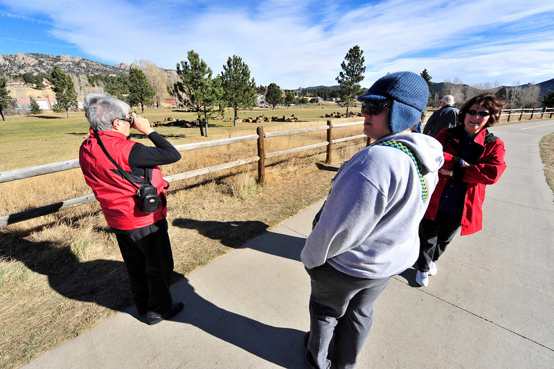 Walt Hester | Trail Gazette<br /> Gerry Krezek, left, Nikki Bernier of Chicago and Carol Bernier of St. Louis watch elk on the Lake Estes 9-Hole golf course on Monday. Elk are gathering in ever-larger herds and bulls are becoming less active as the winter approaches.