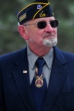Walt Hester | Trail-Gazette<br /> The American Legion Post 119 commander watches on during the Veterans' Day service at the Estes Valley Memorial Gardens on Thursday.