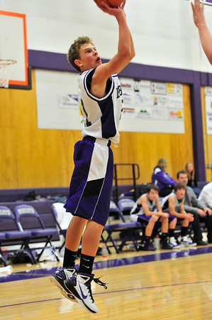 Walt Hester   Trail Gazette<br /> Chris Moody shoots from outside against Ft. Lupton on Tuesday. Moody scored nine points to help defeat the Blue Devils 65-23.