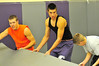 Walt Hester   Trail Gazette<br /> Wrestlers start pulling mats out to begin pre-season practice at the Estes Park Hig School on Monday. The grapplers start their season on Saturday, Dec. 4 at the Weld Central Invitational.