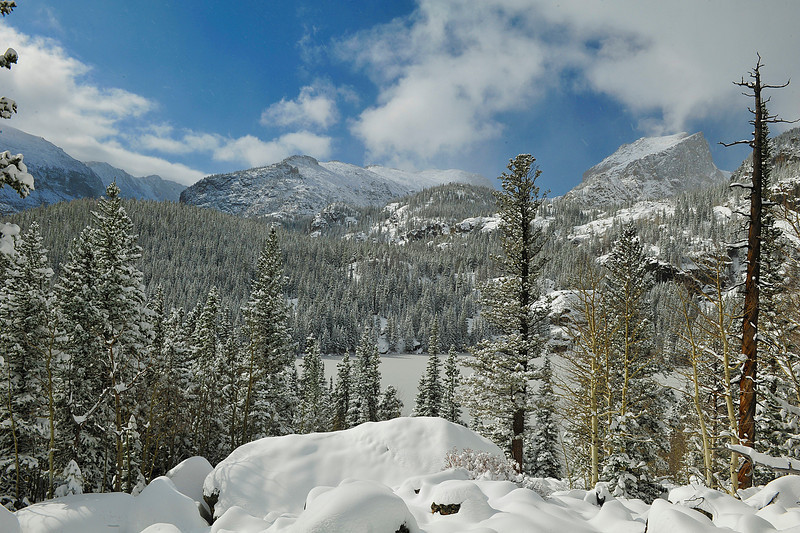 Walt Hester | Trail Gazette<br /> Snow blankets Bear Lake and surrounding peaks in Rocky Mountain National Park earlier this month. Visitor numers are pushing 3 million for the year.