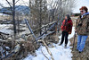 Walt Hester | Trail Gazette<br /> Susan Wolf, left, of Allenspark and Sherri Tippie of Wildlife 2000, inspect a beaver lodge along Fish Creek Road on Tuesday. Beaver advocates are trying to push back the connecting of the multi-use trail to ease the construction's impact on the beavers.
