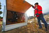 Walt Hester | Trail Gazette<br /> Sean Park of Estes Park opens the door on his 1,500-pound Tuff Shed to see his 400-pound ATV inside. Hurricane-force winds caused damage to trees and other property all over Estes Park over the weekend.