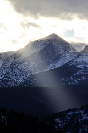 Walt Hester | Trail Gazette<br /> Sunshine pierces clowds over Rocky Mountain National Park on Tuesday. While some sun is expected Friday, snow may, again, return on Saturday.