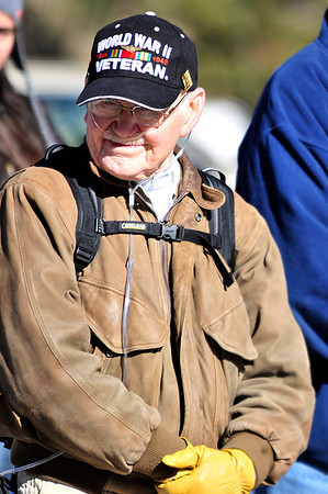 Walt Hester | Trail Gazette<br /> Bob Brunson, a naval aviator proudly sports his WWII cap at Friday's ceremony at the Estes Valley Memorial Garden. Statistically, America is losing veterans of the Second World War at the rate of 1,000 per day.