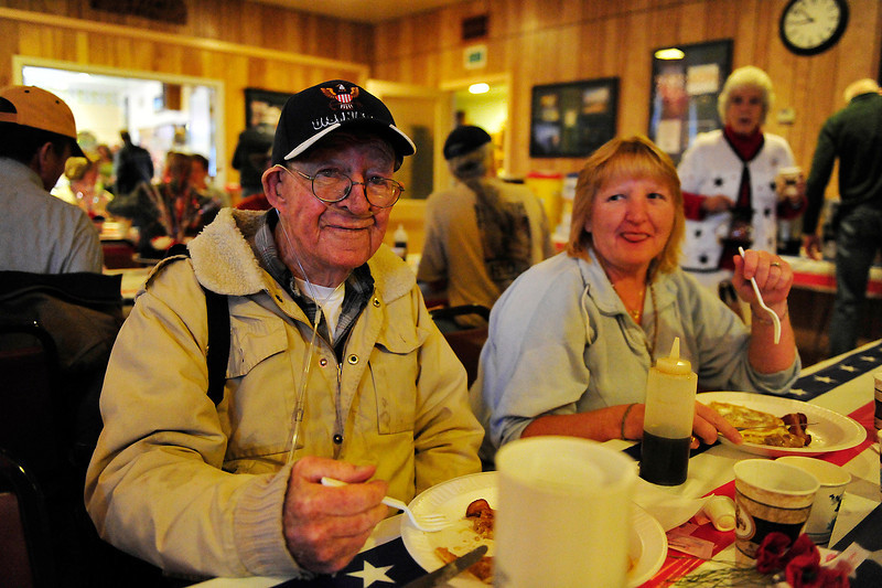 Walt Hester | Trail Gazette<br /> Bob Dike of Estes Park enjoys the annual Veterans' Day breakfast at the American Legion. The event is not just an opportunity to honor those who have served, but a chance for friends to come together.