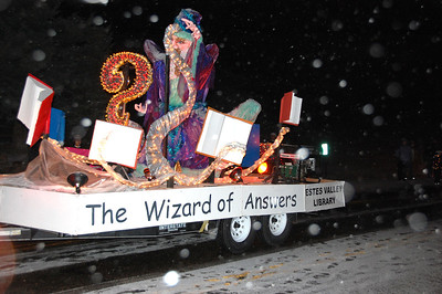 "The Estes Valley LIbrary float in the 2011 Catch the Glow parade carried the ""Wizard of Answers."""