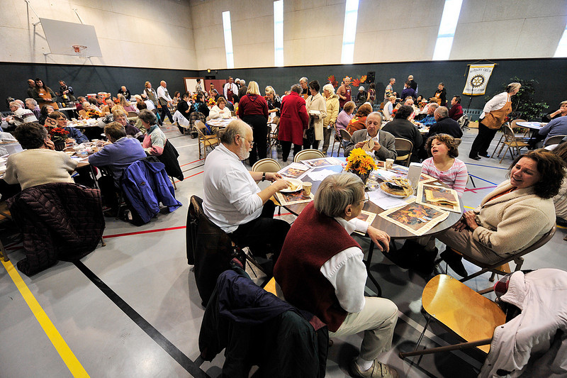 Walt Hester | Trail-Gazette<br /> Visitors fill almost all the seats at the annual Free Community Thanksgiving Feast at the Mountain View Bible Fellowship on Thursday. Organizers described the event as a rousing success with lines running out the doors of the hall.