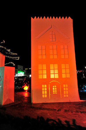 Walt Hester | Trail-Gazette<br /> A giant luminaria rolls along during Friday's parade. The luminaria float was one of several new floats for this year's parade.