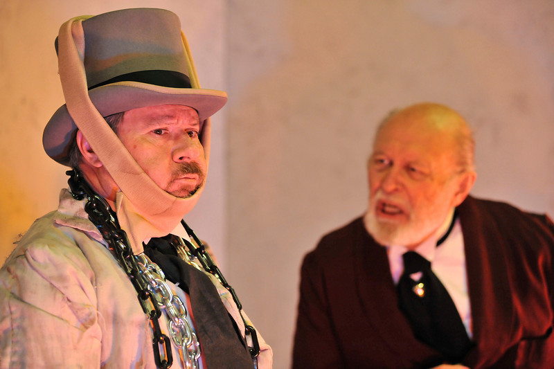 Walt Hester | Trail Gazette<br /> Jacob Marley appears hoping to save his sceptical partner, Scrooge, from walking the earth in the after-life. Michael Willborn portrays both Marley and Bob Cratchit in the production.
