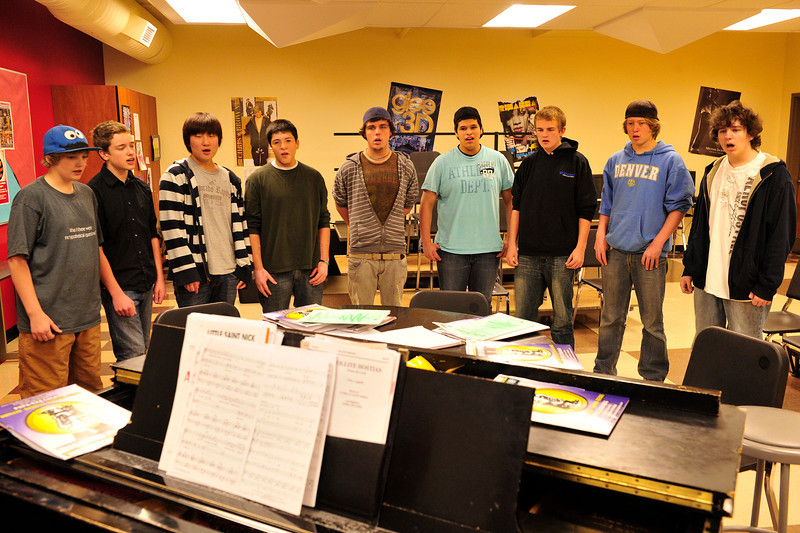 Walt Hester | Trail Gazette<br /> The Estes Park High School Mens Choir rehearses at the school on Wednesday. The group will perform at Poppy's on Monday night, Dec. 12.