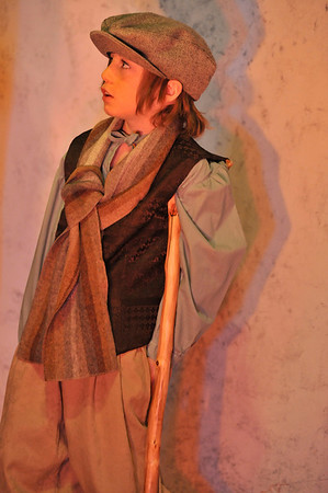 Walt Hester   Trail Gazette<br /> Woody Moreau, 6, portrays Tony Tim, the second-best know charactor in A Christmas Carol. Woody follows in the footsteps of older siblings Gracie and Oliver Moreau, both of whom act in this production.